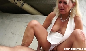 Hot golden-haired old cougar receives fortunate with a juvenile hard penis