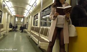 Jeny smith seamless hose subway love tunnel flash