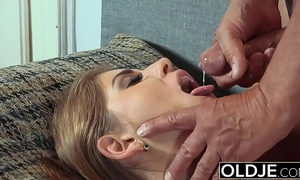 Pretty youthful amateur wife mouthful of cum and anal sex with grandad wang