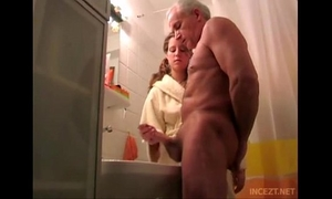 Granddaughter aid her grand father cum discharge